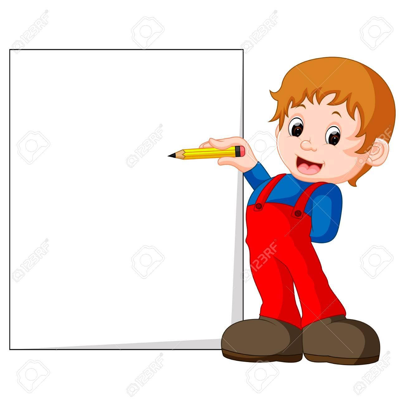 手紙を書く子供のイラスト の写真素材画像素材 Image 78494465
