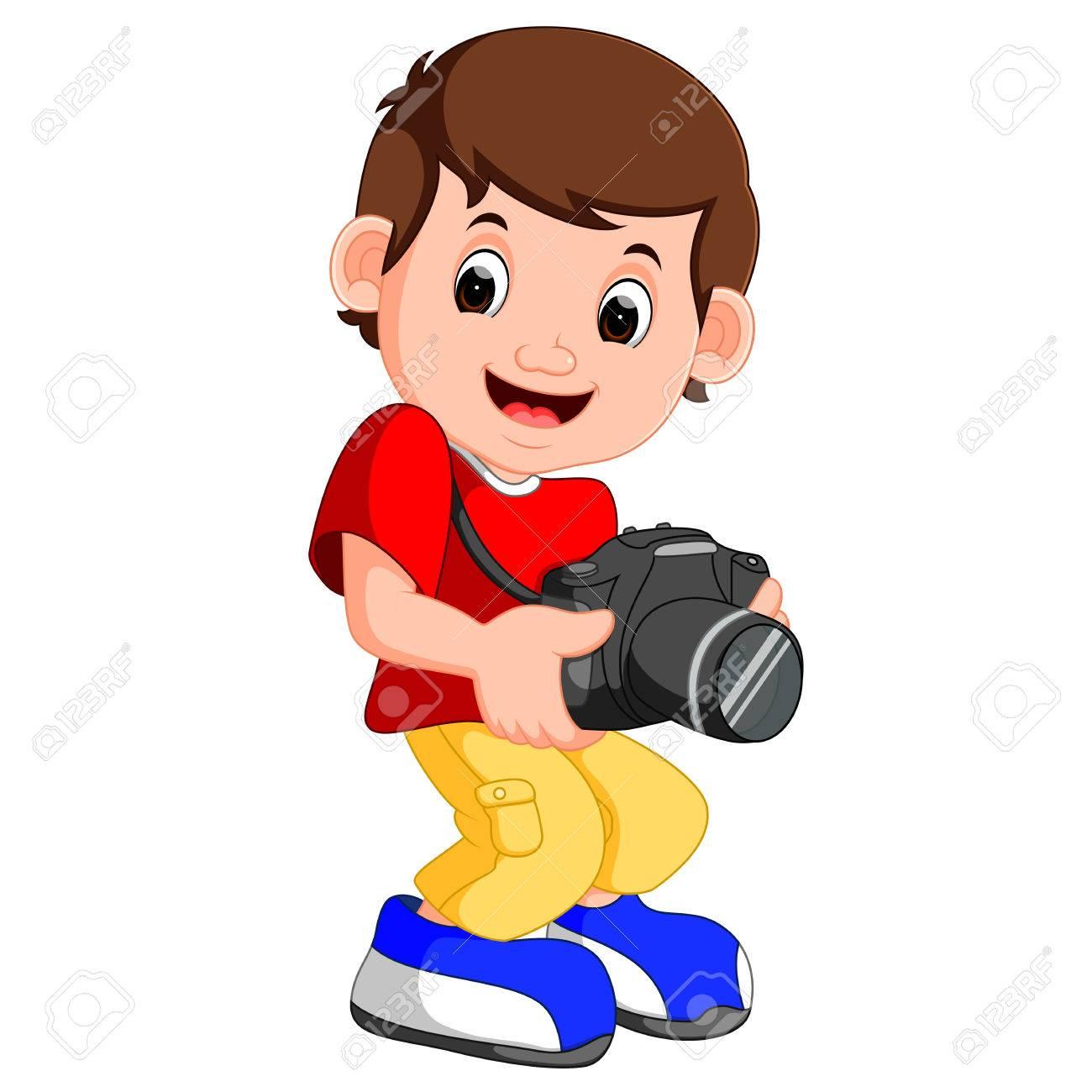 Niño De Dibujos Animados De La Celebración De La Cámara Fotos