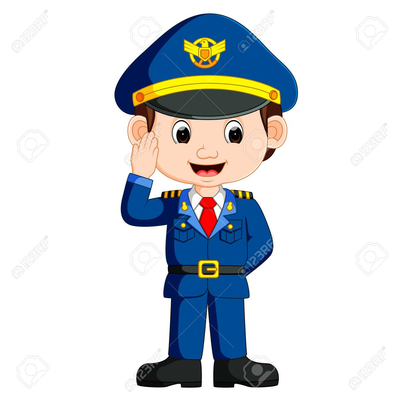 23e0395a4d cute happy airplane pilot waving Stock Vector - 79449697