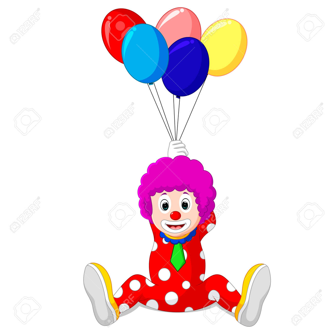 167 Clown Holding Balloons Stock Illustrations, Cliparts And Royalty ...
