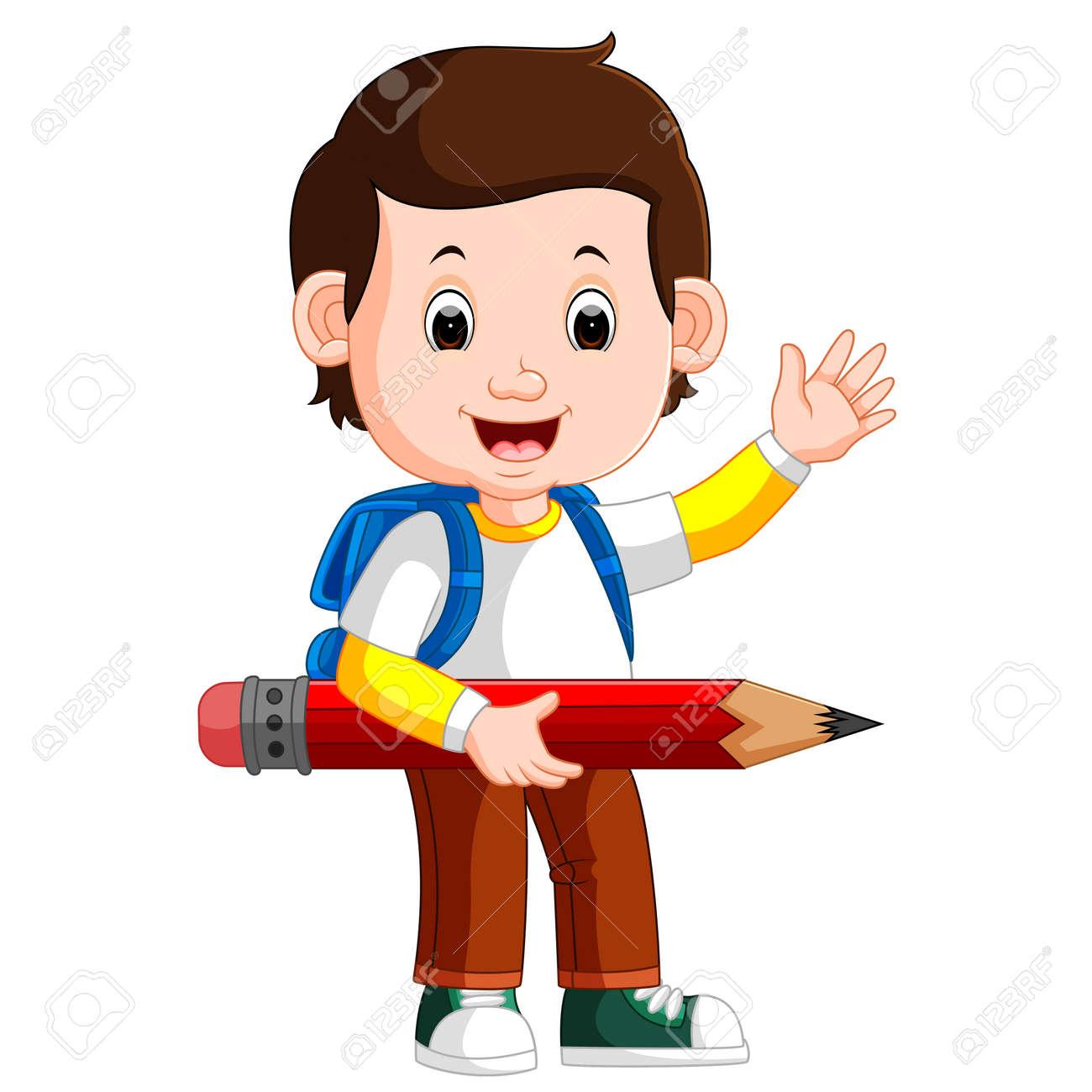 Boy holding big pencil stock photo 79451979