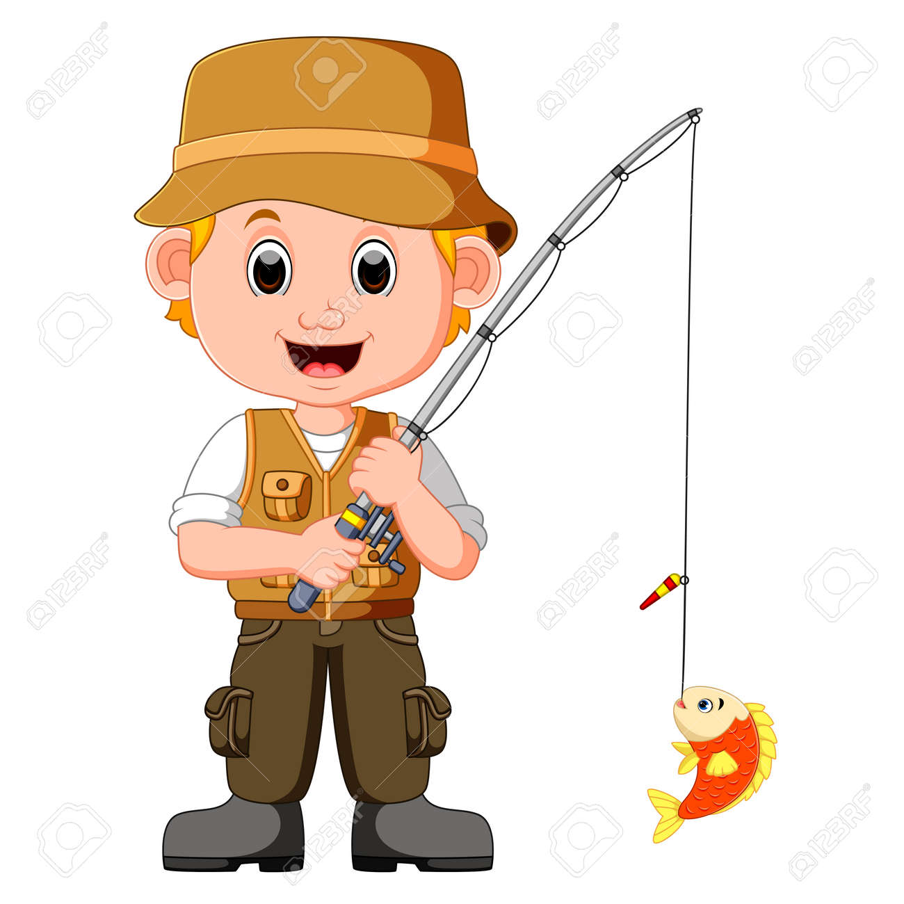 Cartoon Man Fishing Stock Photo Picture And Royalty Free Image Image 79609183