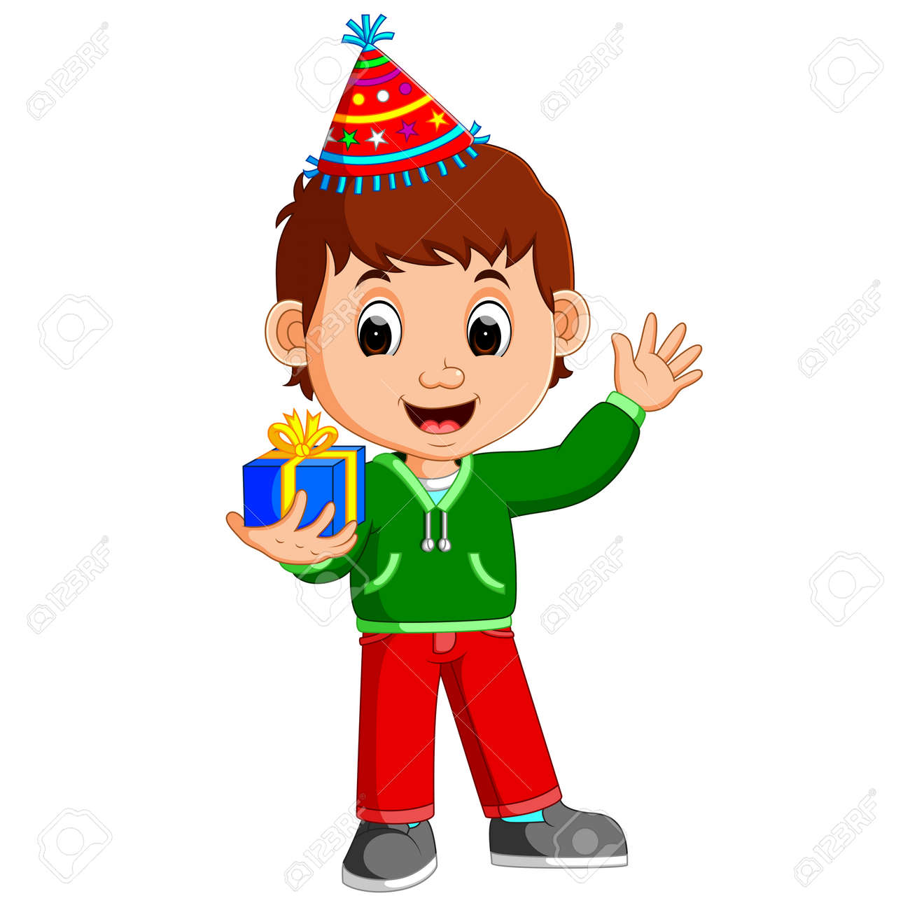 Boy Holding Birthday Gifts Stock Vector