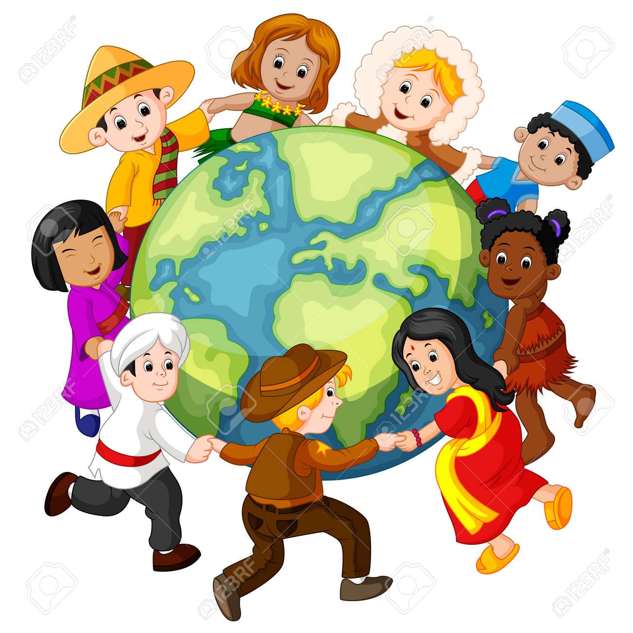 Niños Tomados De La Mano En Todo El Mundo. Ilustraciones ...