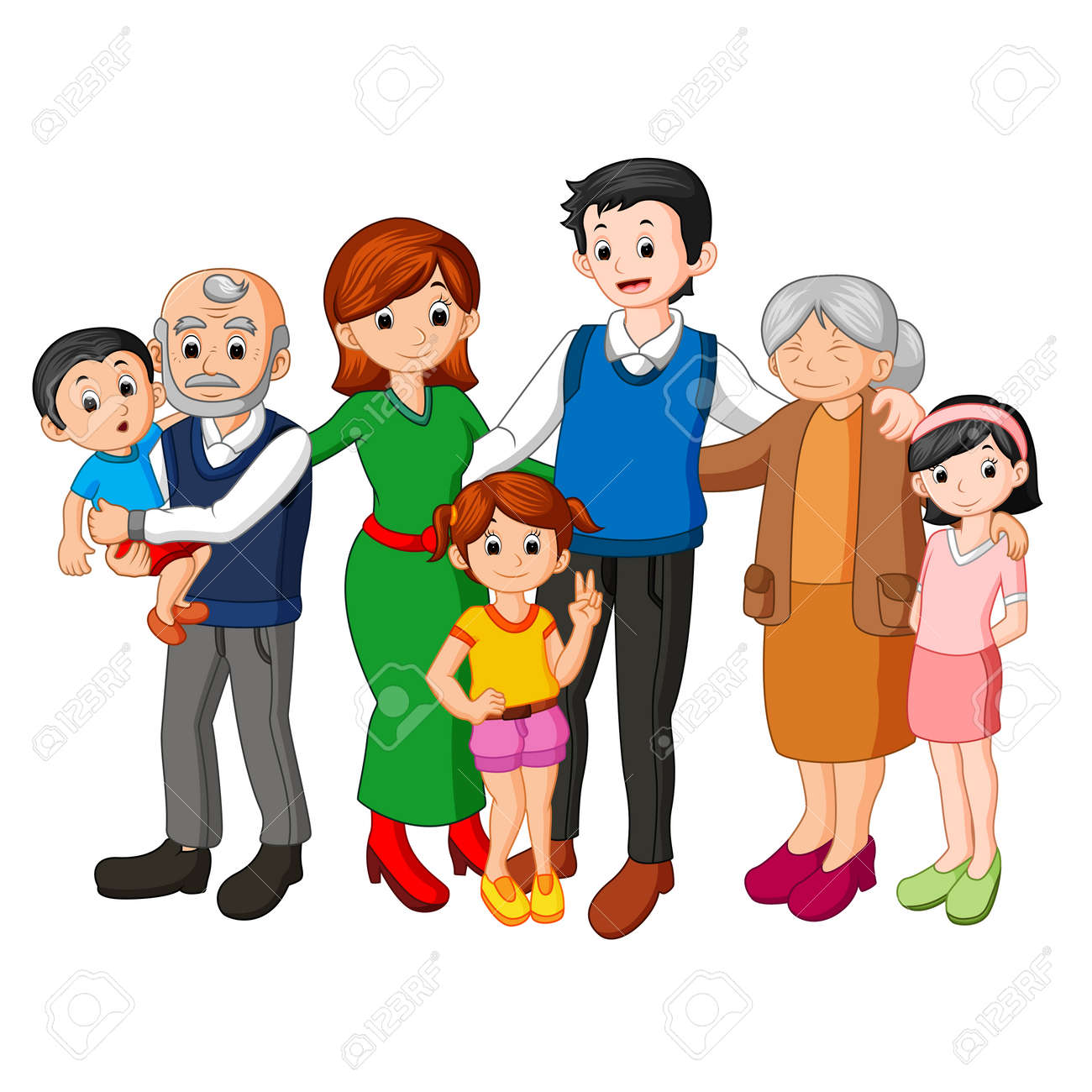 big family together stock photo picture and royalty free image rh 123rf com big and small family clipart big family tree clipart