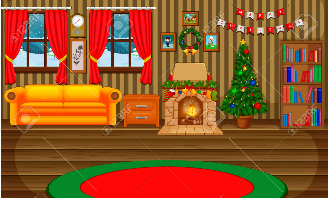 Christmas living room with a tree and fireplace - 90416654