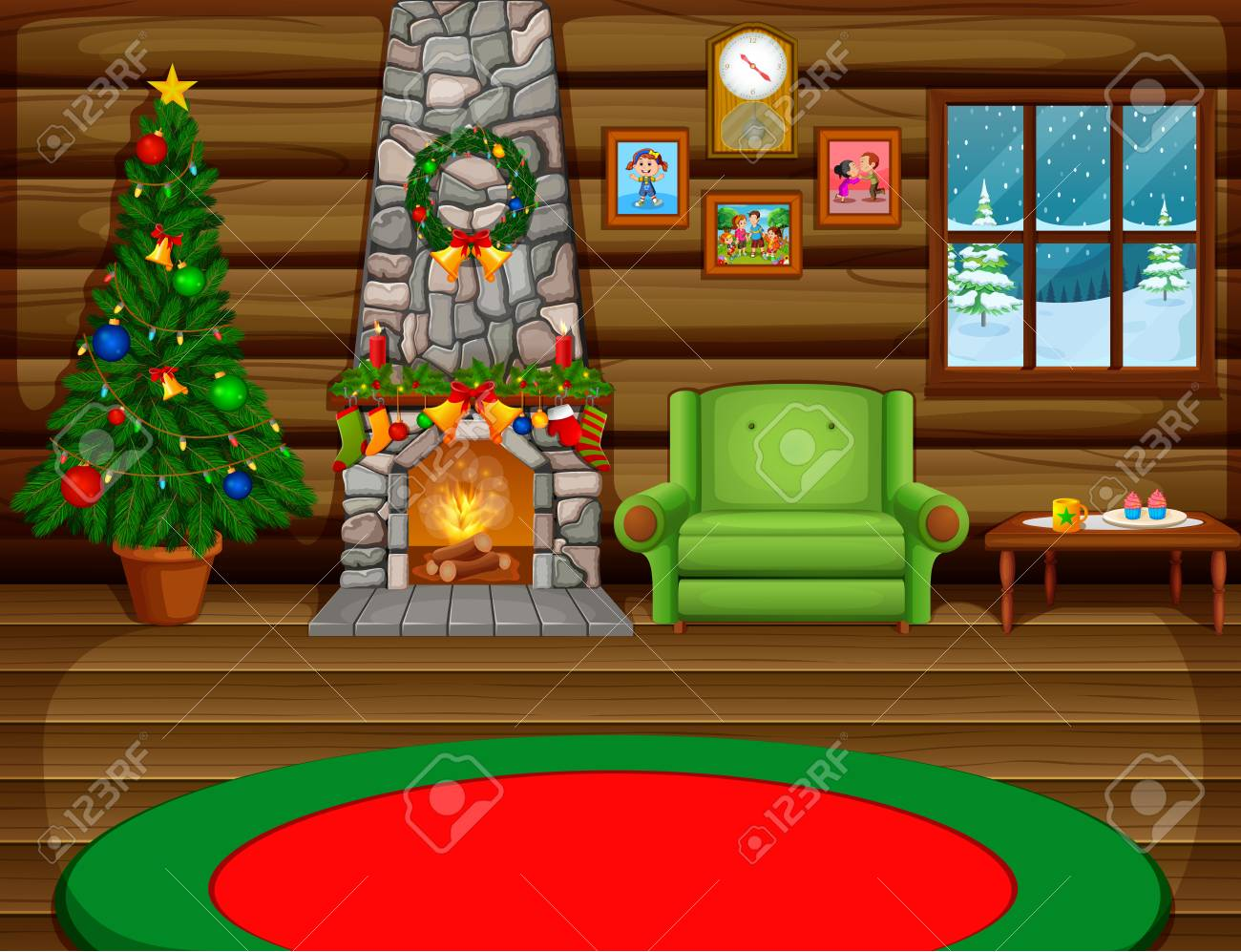 Christmas Living Room With A Tree And Fireplace Royalty Free