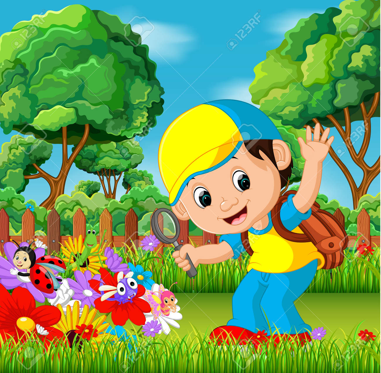 cute boy holding magnifying glass in a flower garden royalty free cliparts vectors and stock illustration image 91335908 cute boy holding magnifying glass in a flower garden