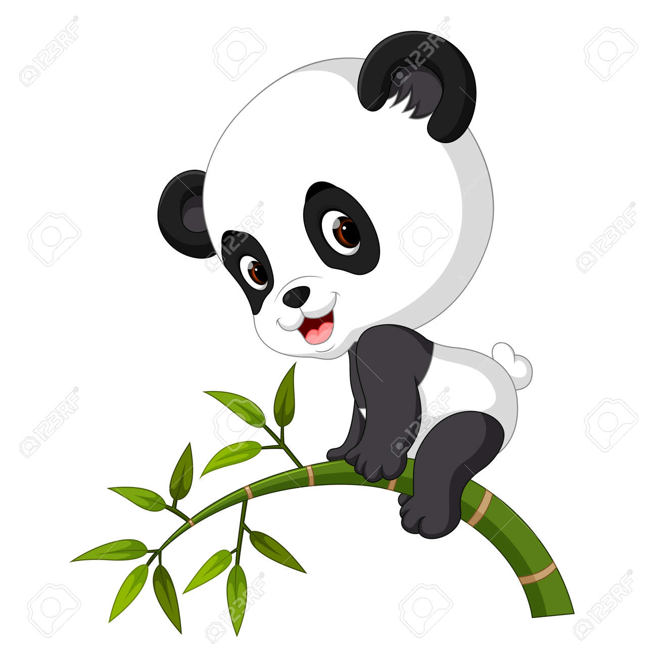 Cute funny baby panda hanging on the bamboo - 94255211