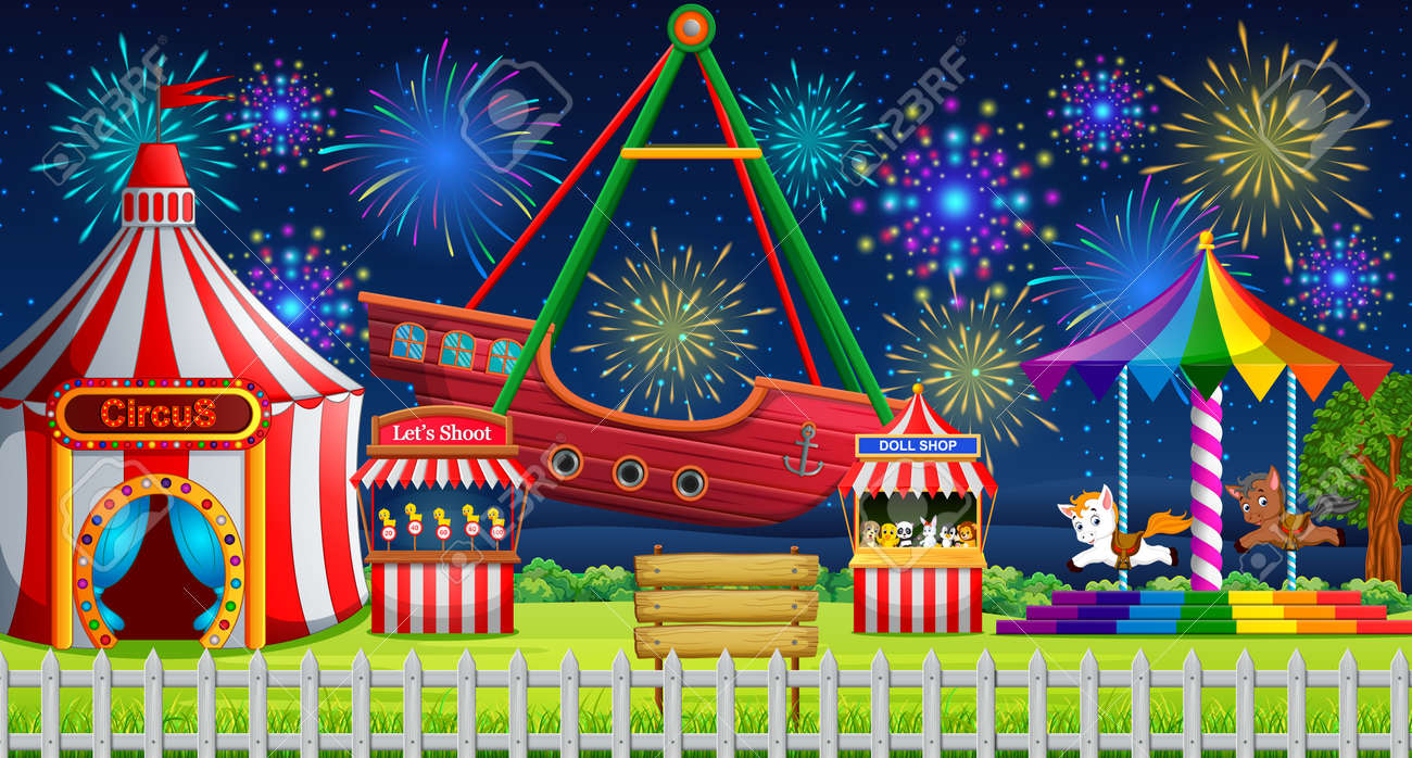 Amusement park scene with circus tent and firework illustration. - 95056866