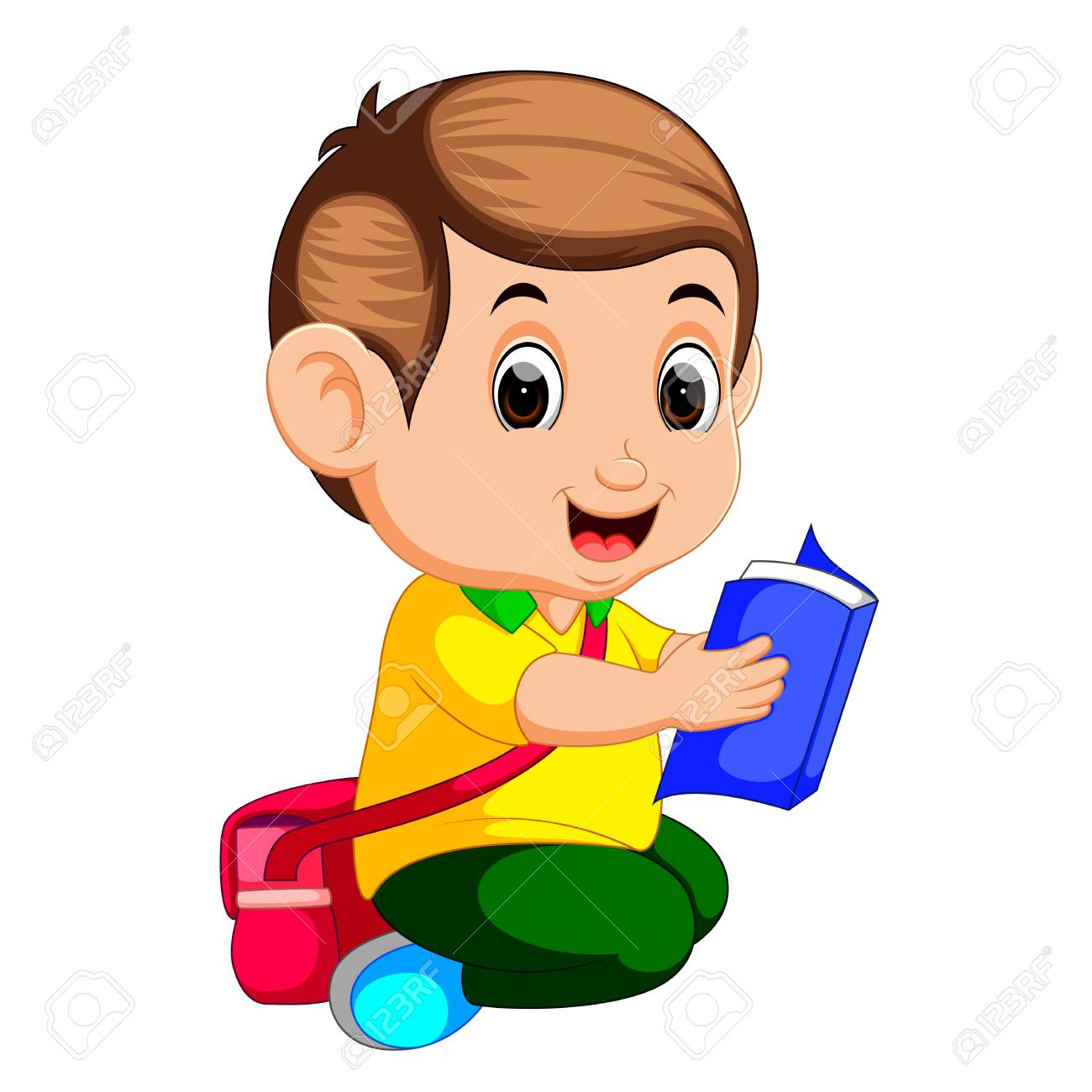 Young Boy Reading Book