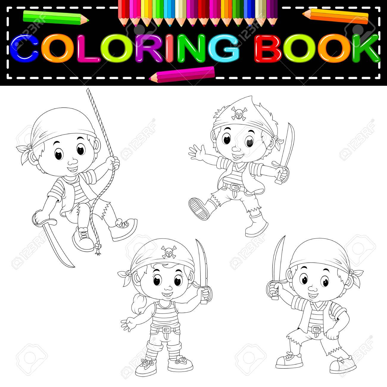 Pirate Kid Coloring Book Vector Illustration