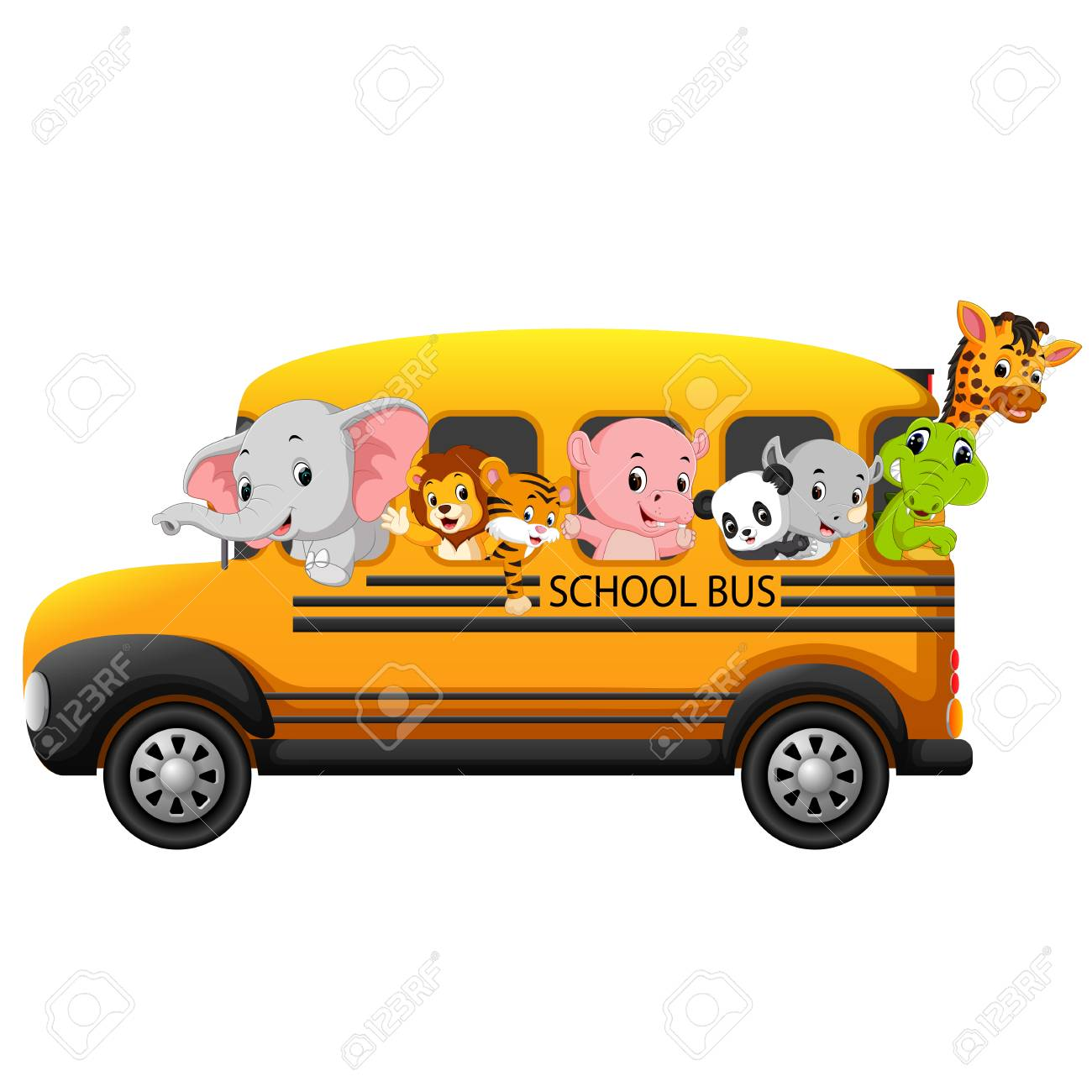 Illustration of school bus filled with animals. - 98367856