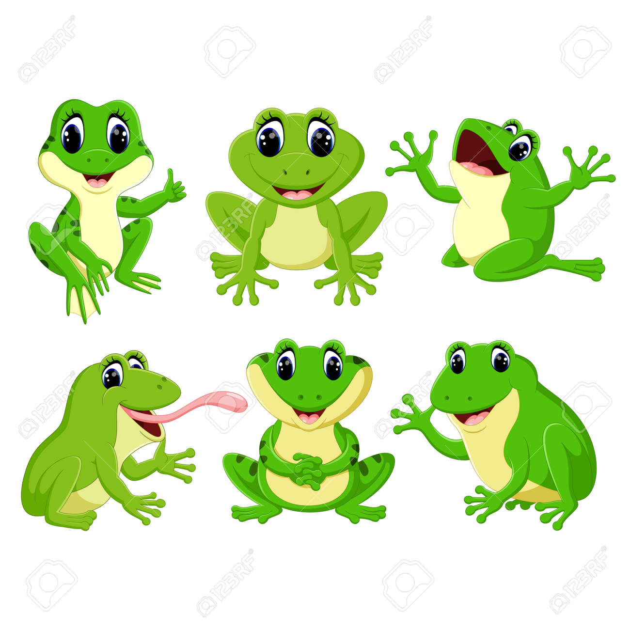 the collection of the pretty green frogs in the different posing - 109066679