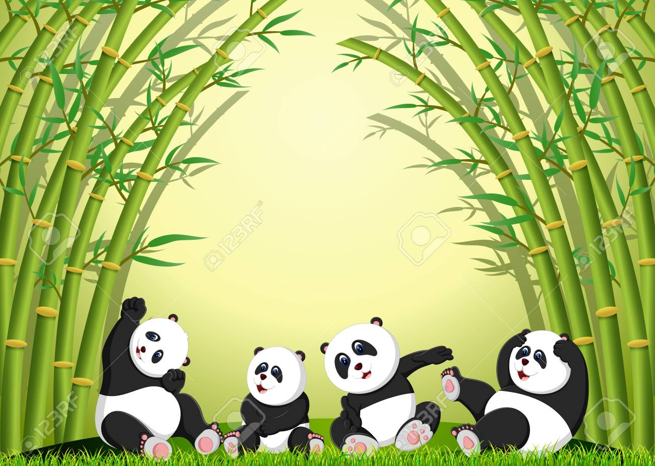 the panda action playing together under the bamboo - 108805722