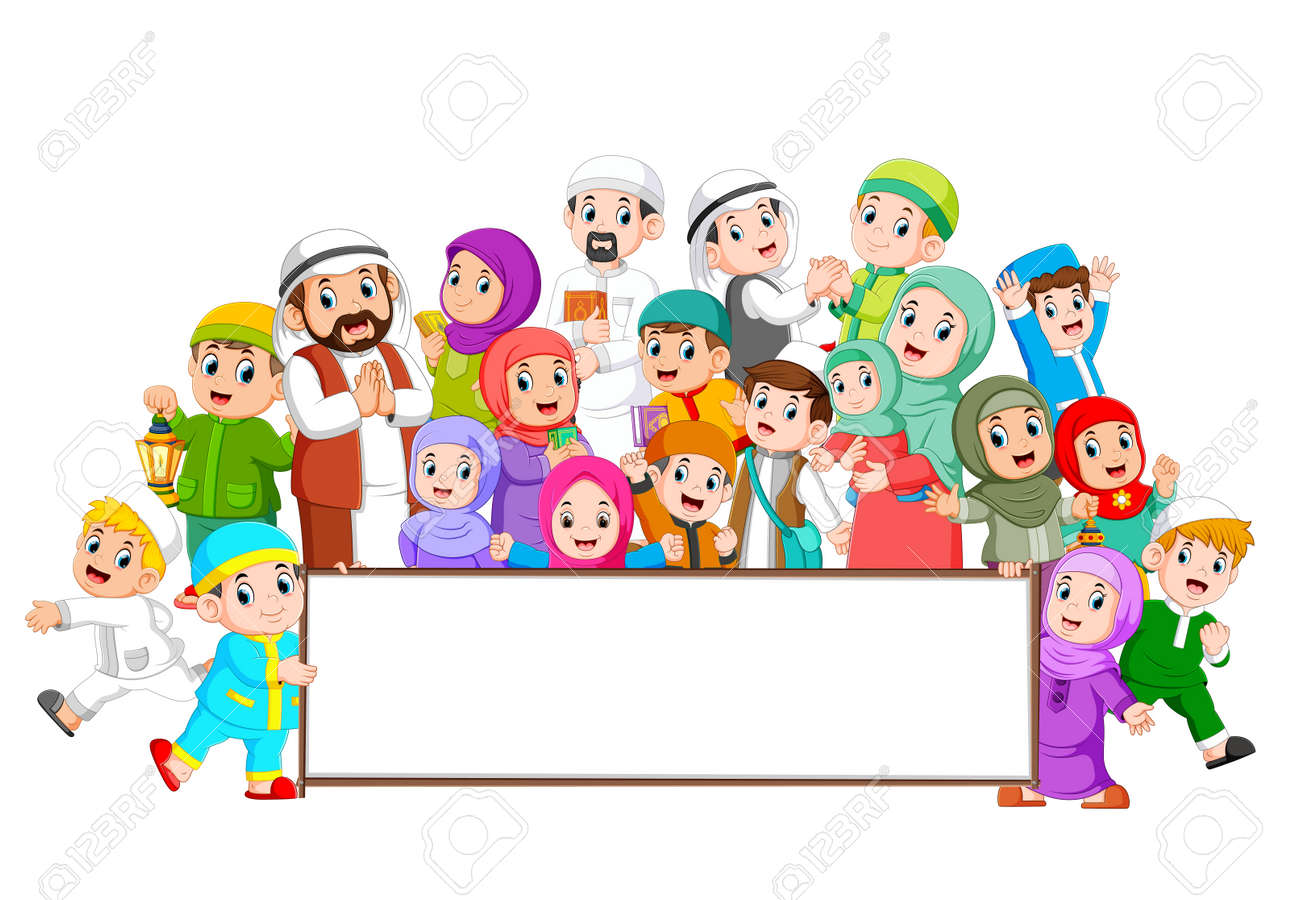 A big muslim family are gathering near the blank board - 120724348