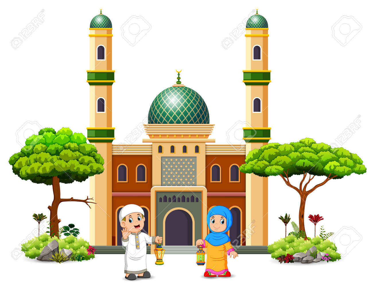 the boy and the girl are holding the ramadhan lantern in front of the green mosque - 120724354