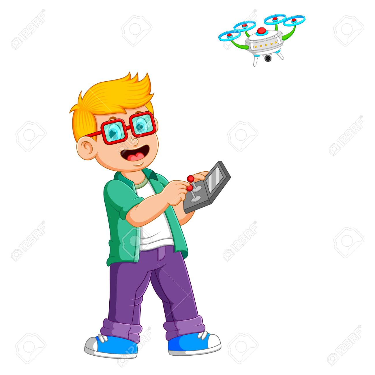 the boy with the glasses is playing with drone - 122855919