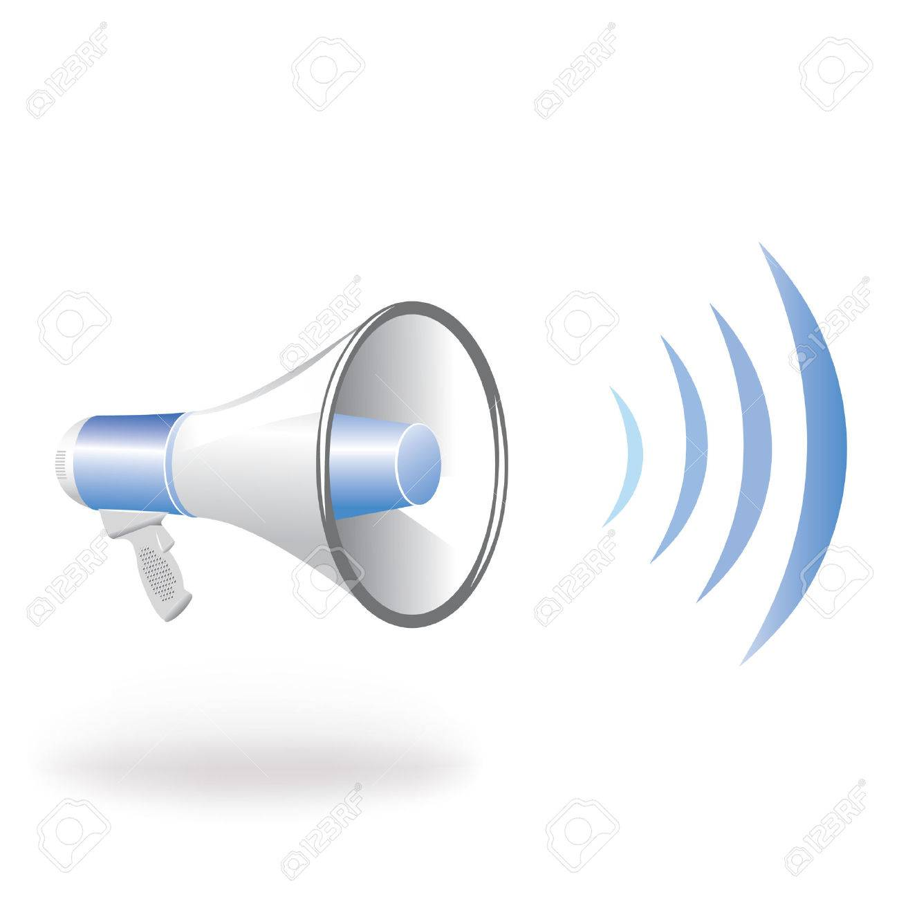 Loudspeaker vertical blue wave Stock Vector - 7630578