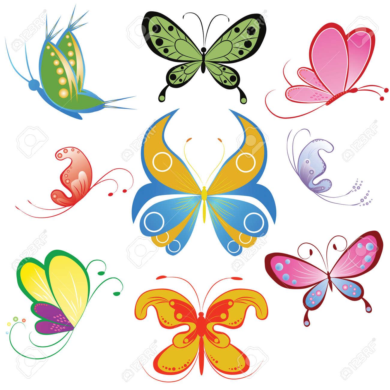 3 790 colored butterfly stock vector illustration and royalty free