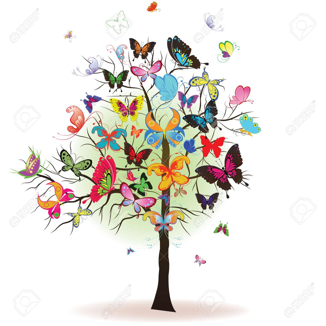 Arbre floral avec butterfly, élément de design, illustration Banque dimages , 8616317
