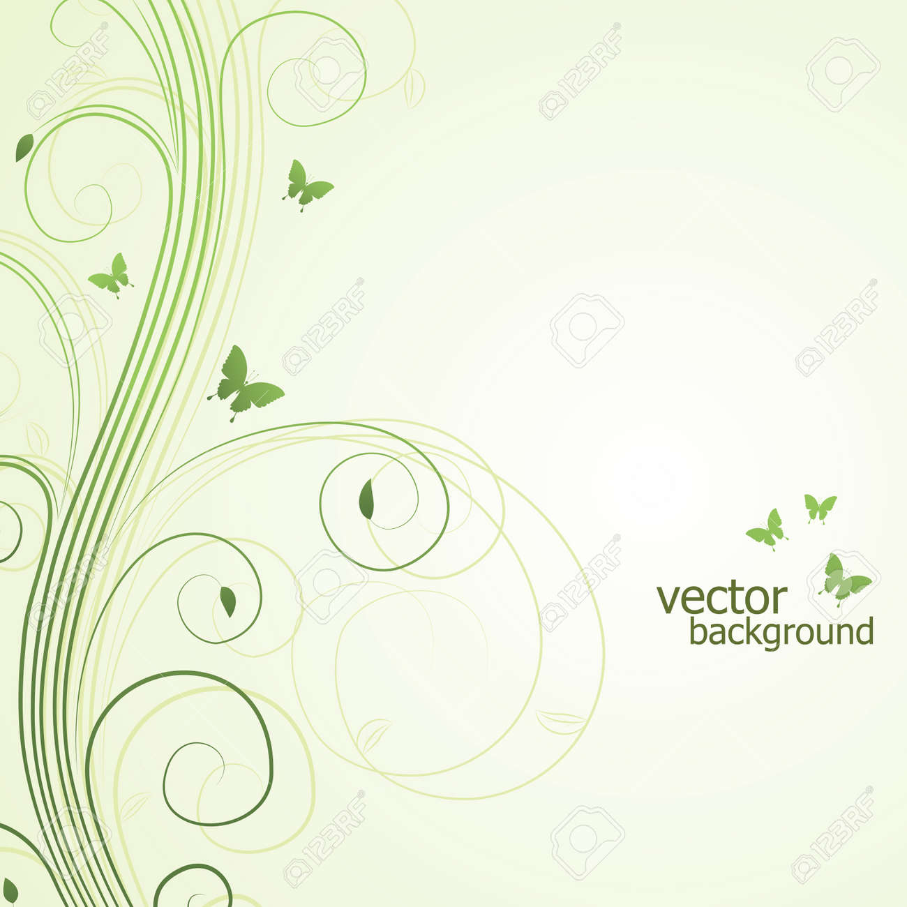 Abstract floral background with butterfly. illustration. Stock Vector - 8710850