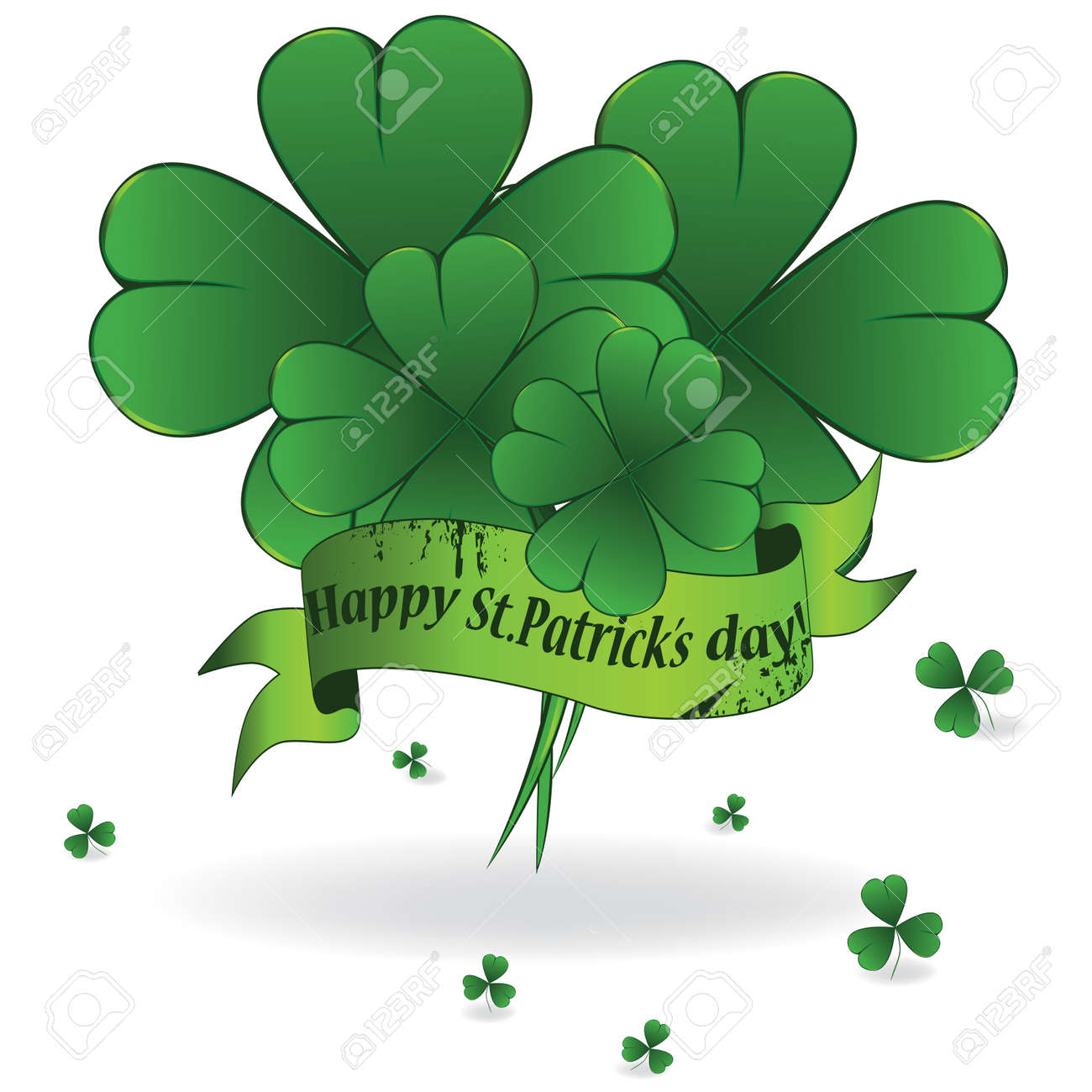 Background to St. Patrick's Day with clover and ribbon, element for design Stock Vector - 8710943