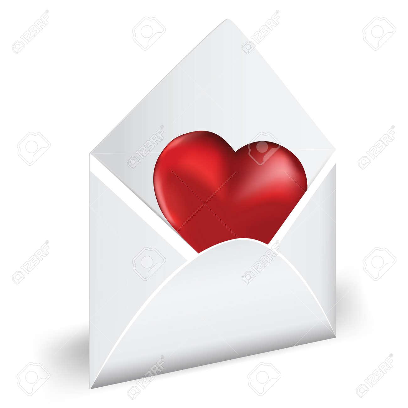Favori Ouvrez L'enveloppe Avec Le Coeur Rouge. Amour Mail. Vector  AF09