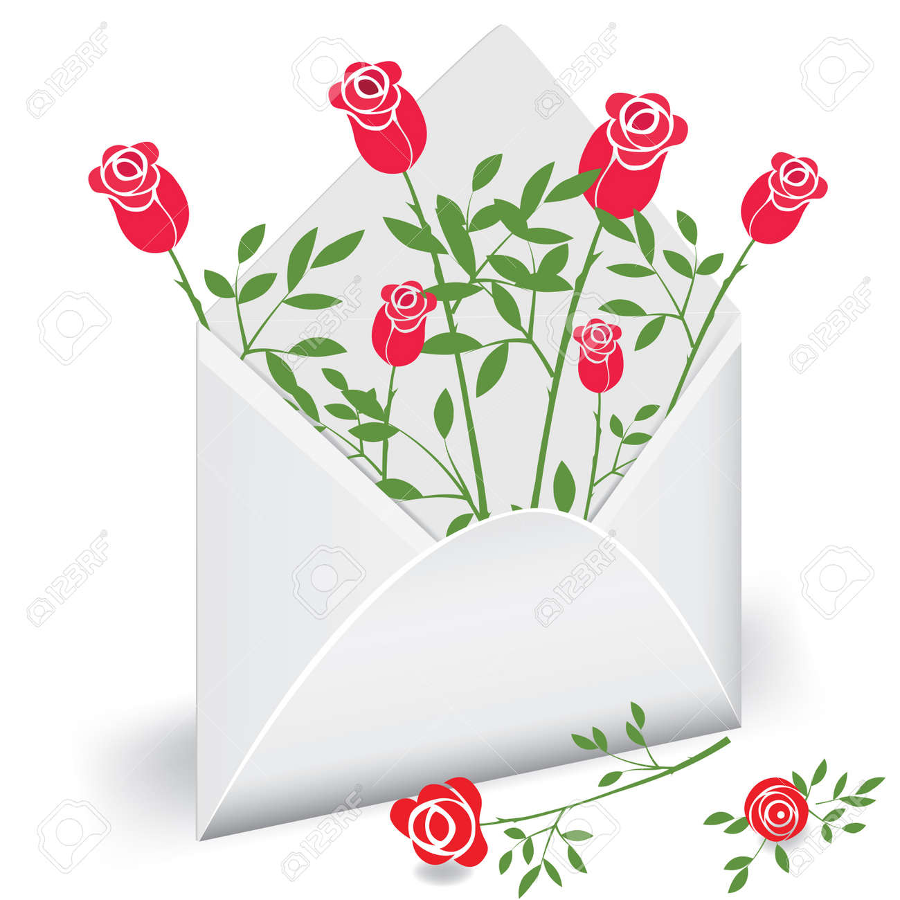 enveloppe ouverte avec fleur rose. love mail clip art libres de