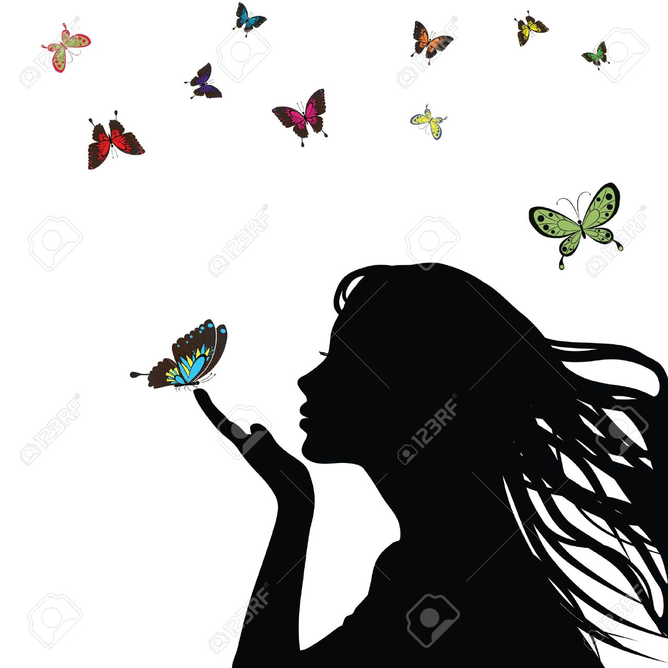 Woman silhouette girl with colorful butterfly on white background. Stock Vector - 9077814