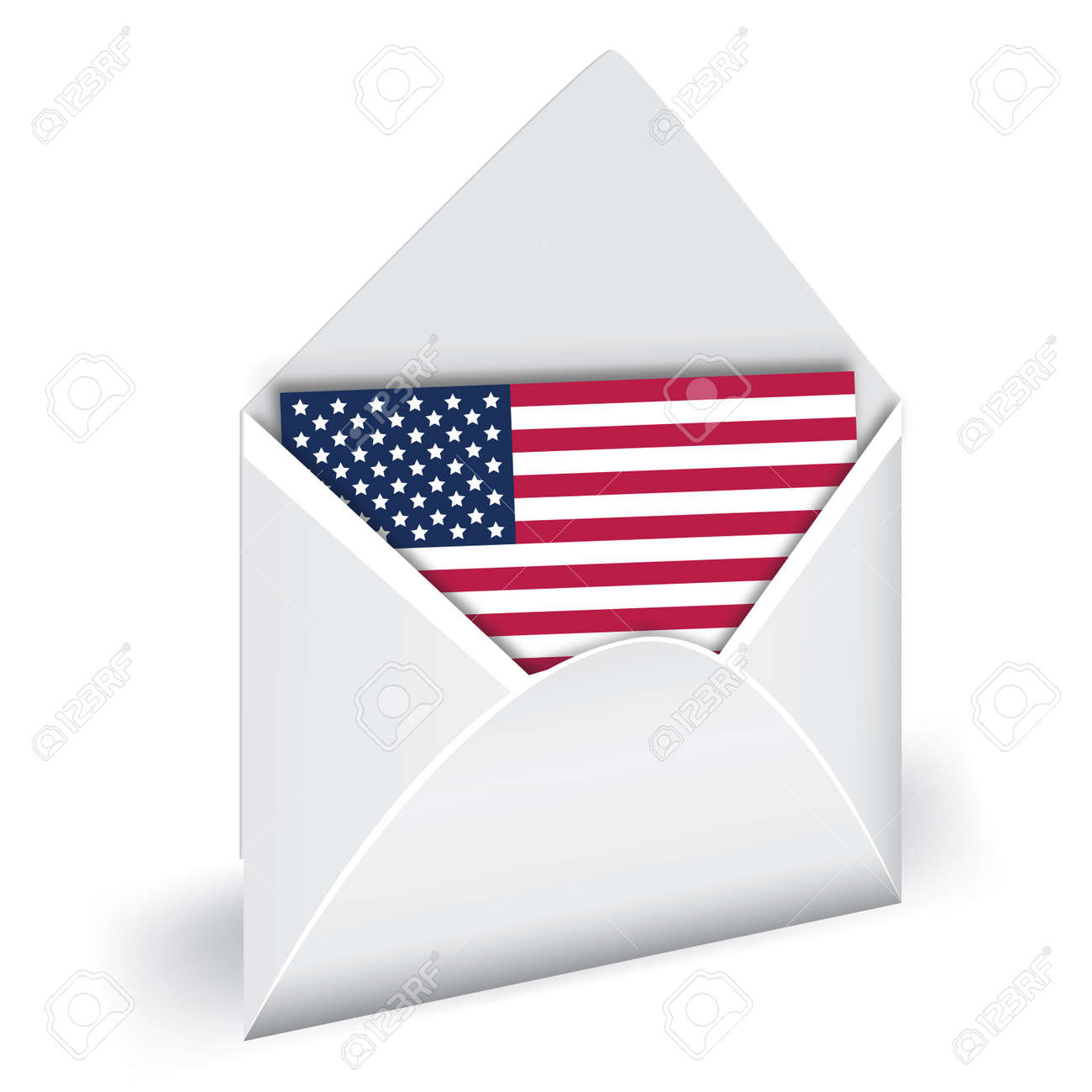 USA flag in opened envelope vector. Holiday independence background Stock Vector - 9770271