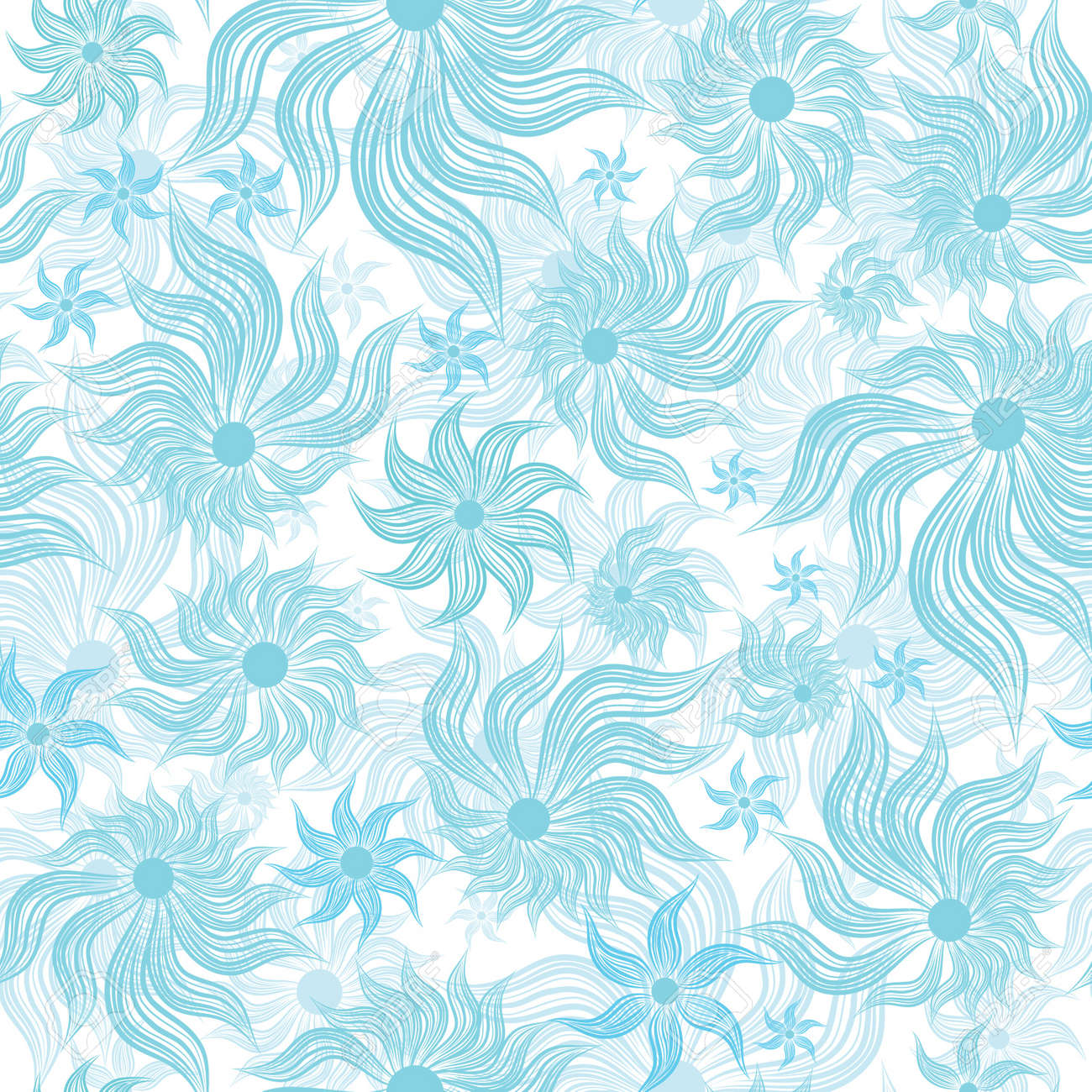 Abstract art blue flower seamless background pattern, floral vintage illustration. Cute, filigree wallpaper with flourishes. Stock Vector - 9902166