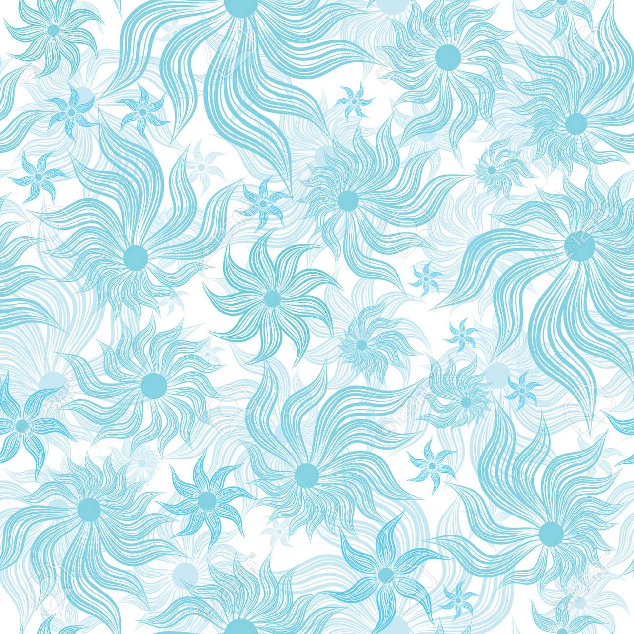 Abstract Art Blue Flower Seamless Background Pattern Floral Vintage Illustration Cute Filigree Wallpaper