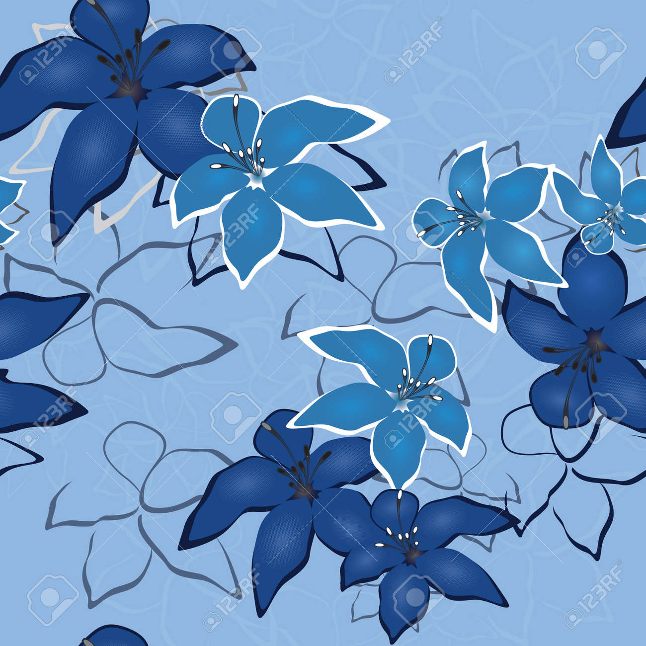 Blue seamless flower background pattern, floral vintage illustration. Cute backdrop in jeans style. Stock Vector - 9902171