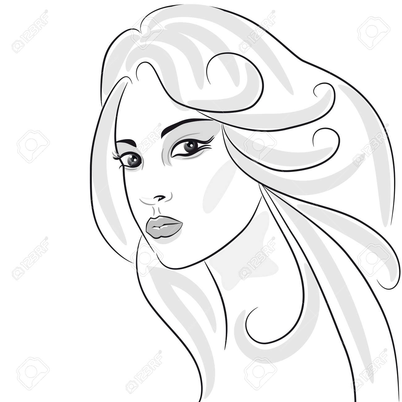 Beauty girl face sketch woman portrait hair wavy design element stock vector