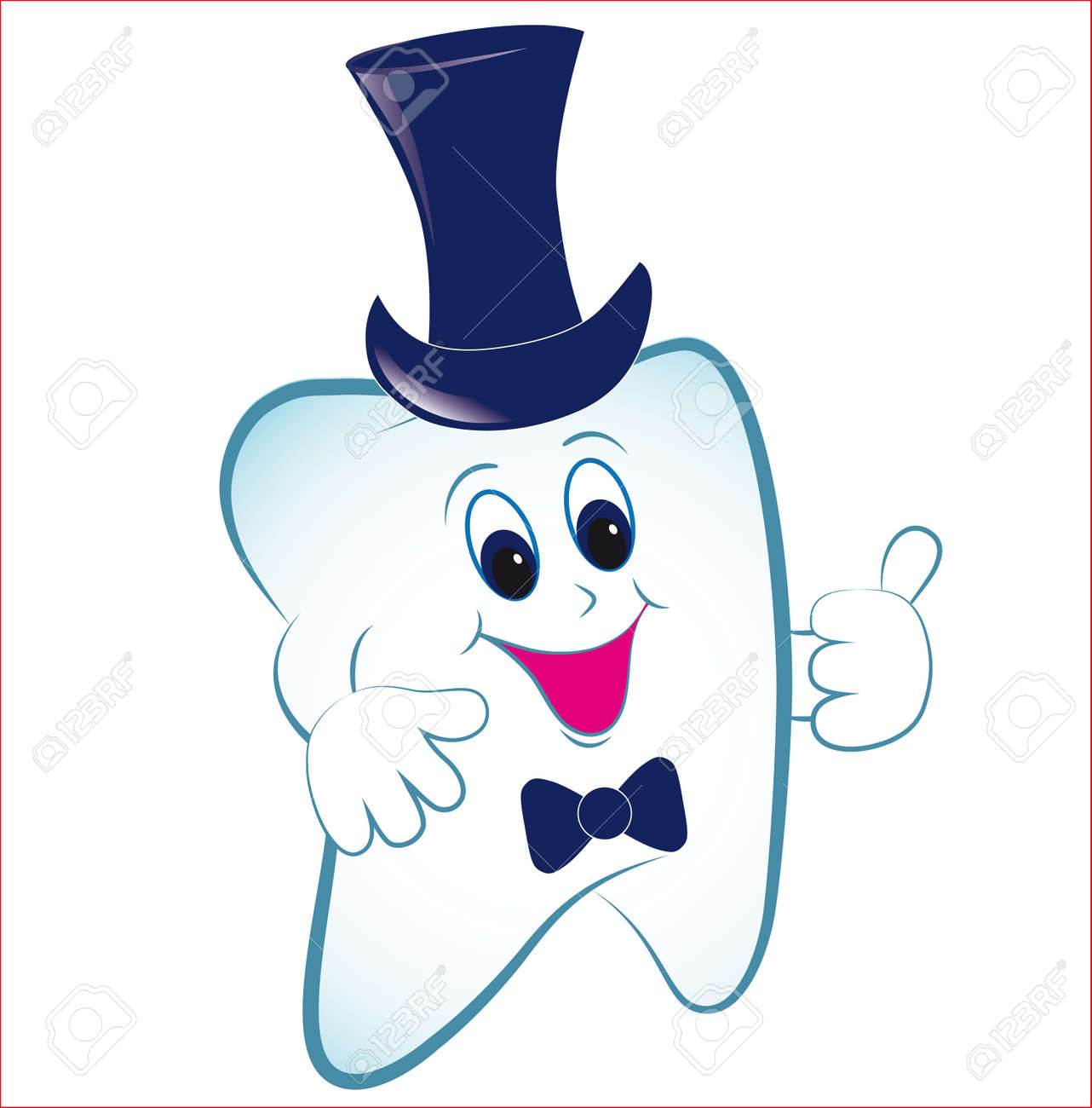 Happy cartoon tooth vector with thumb and hat. Invite illustration. Stock Vector - 10014574