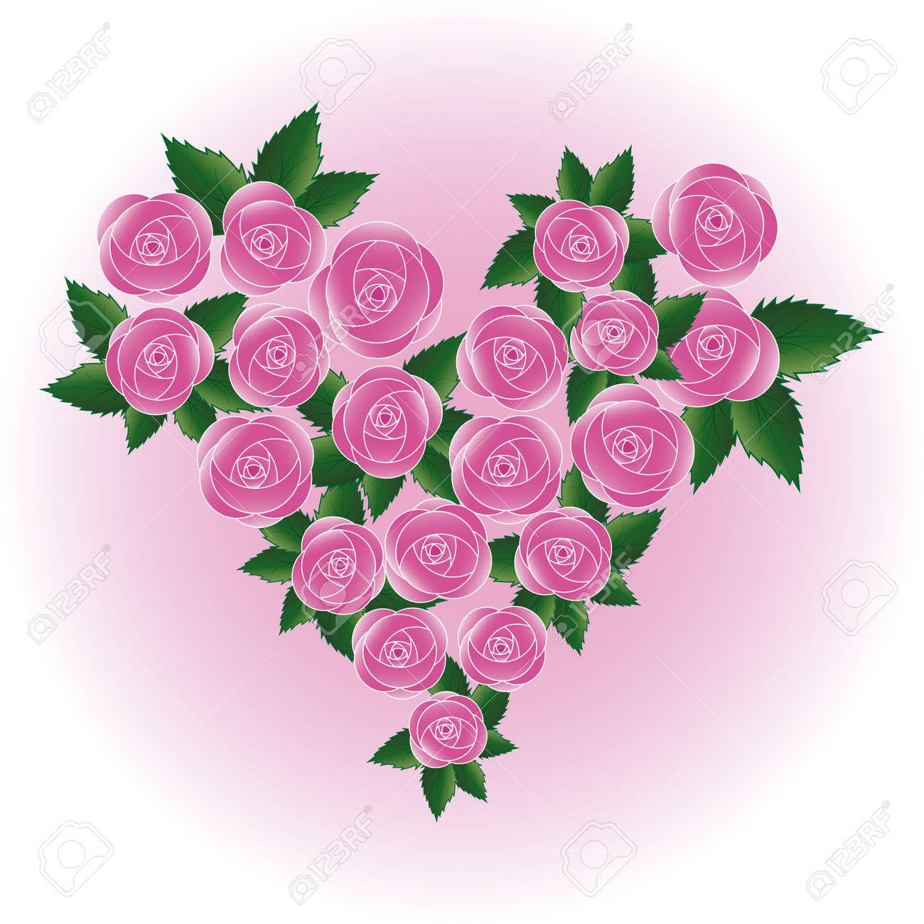 Art Vecteur Rose Coeur Fleur Fond De Mariage Element De Design
