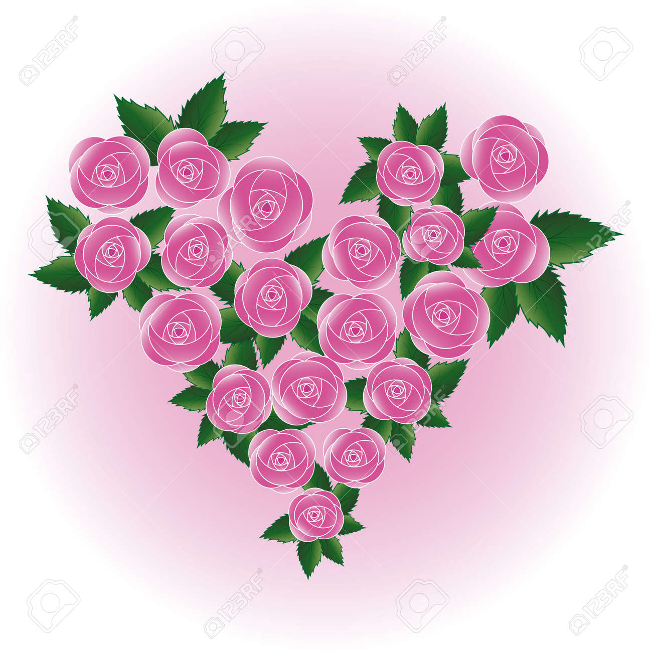 Pink Art Vector Rose Heart Flower Wedding Background Design