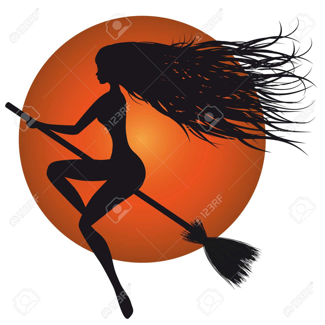 Halloween woman vector, witch silhouette, broom, orange moon. Stock Vector - 10282126