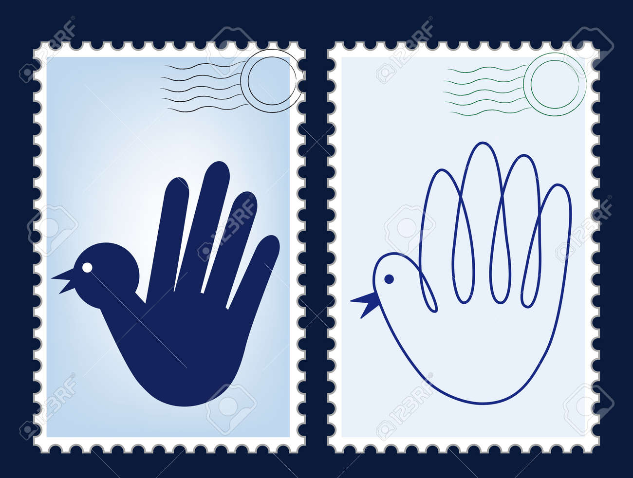 postage stamp vector post card blank post postcard mail border