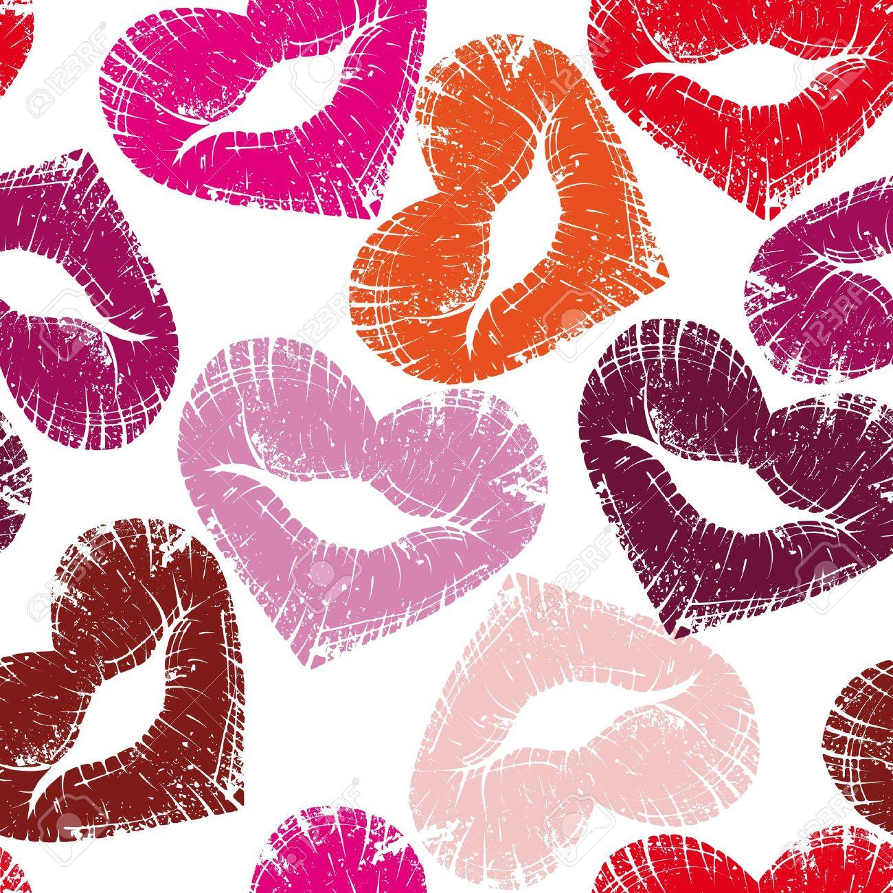 Print of heart lips, seamless kiss valentine background, cute grange illustration.Element for design Stock Vector - 10507034