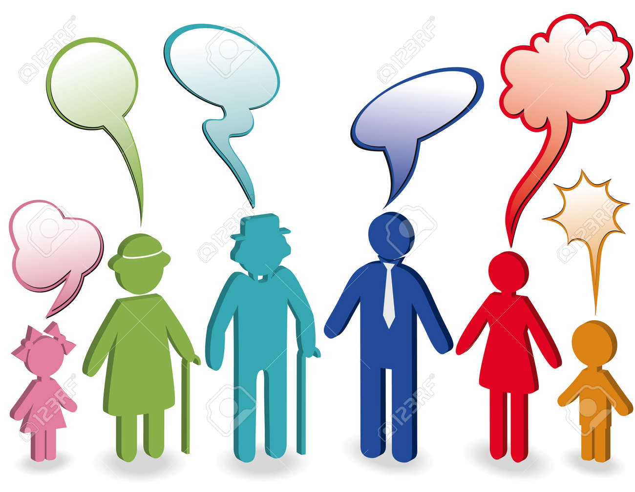 Community, people chat, family icon. Person woman, old man, child, grandpa, grandfather, grandmother. Generation character. Communication illustration with speak bubble, speech balloon. 3d Stock Vector - 10552560