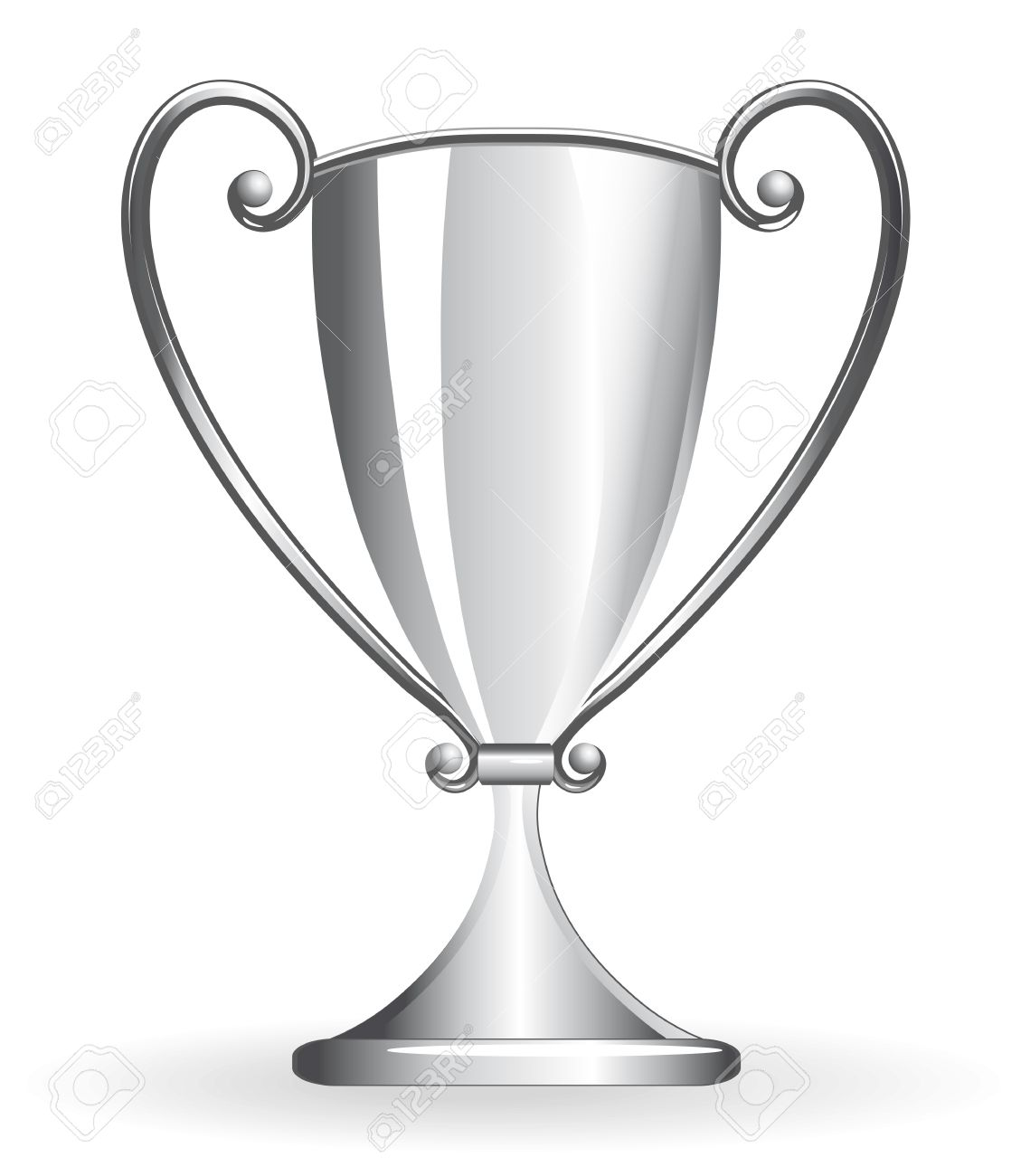 Champion Cup For Football Silver Goblet Sport Prize Vector Illustration Stock