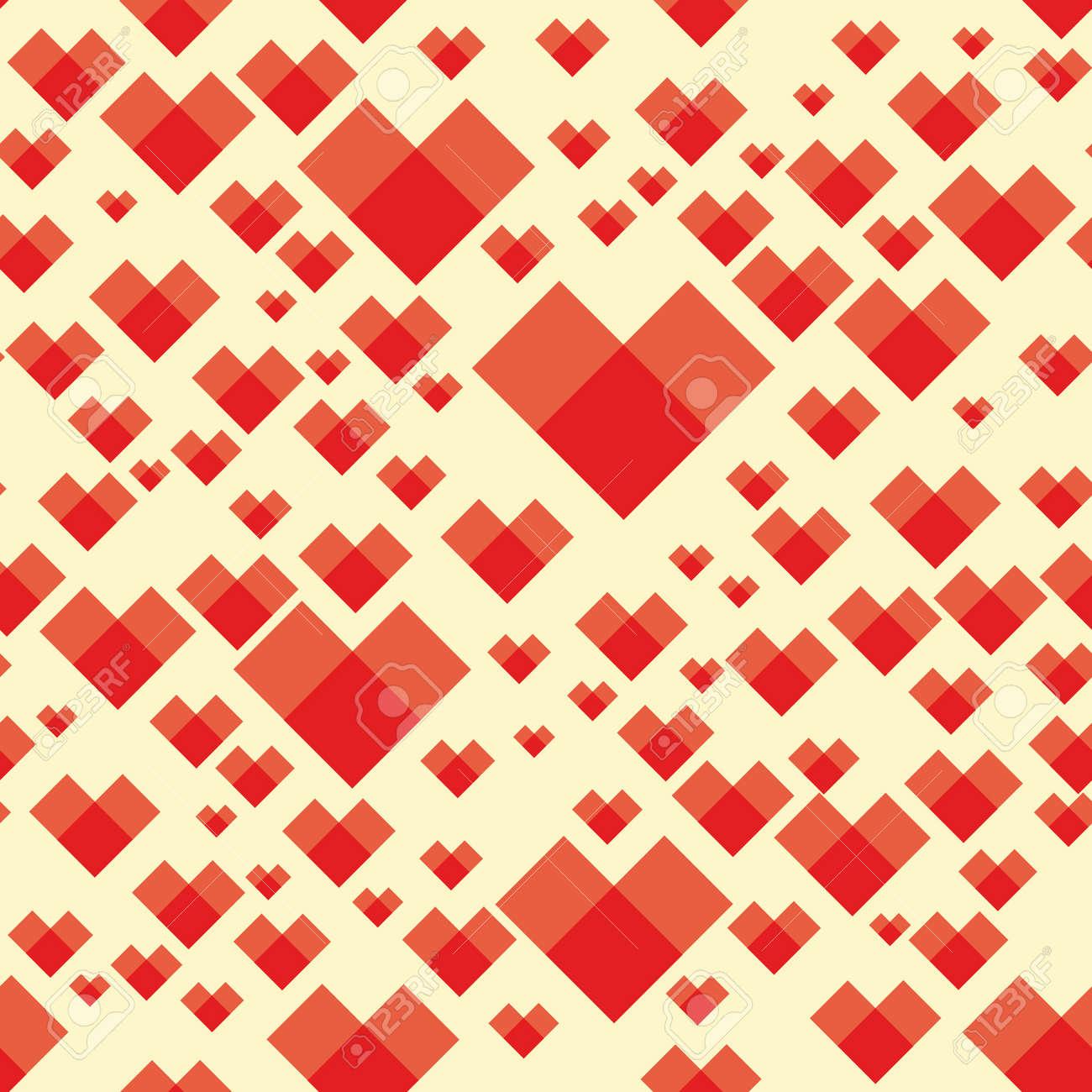 正方形のパターン ハート背景シームレス テクスチャ バレンタインの日