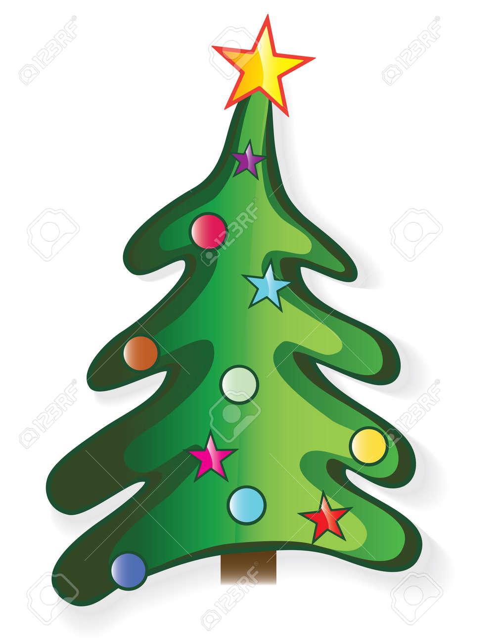 Stern Auf Weihnachtsbaum.Icon Weihnachtsbaum Mit Stern Und Ball Kreative Karikatur Merry