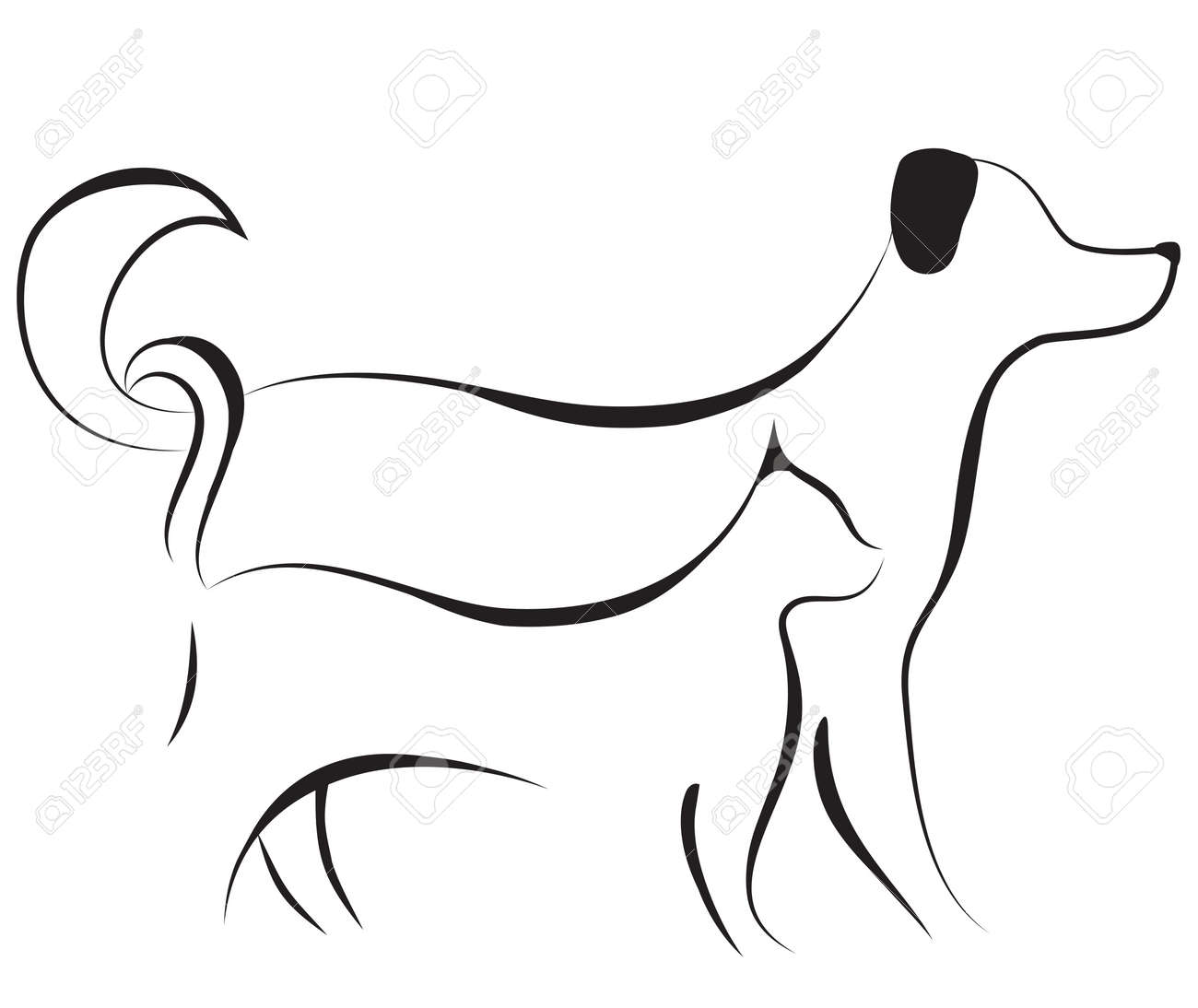 Cat and dog friend logo sketch vector illustration. Element for design. Stock Vector - 11266630