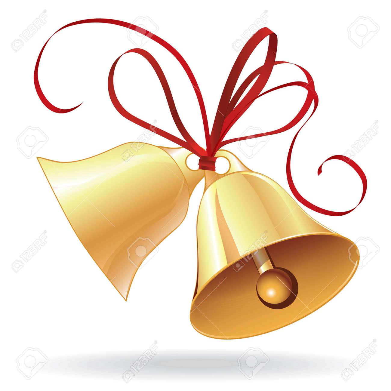 Bell Goldene Hochzeit Oder Zu Weihnachten Mit Roter Schleife Symbol