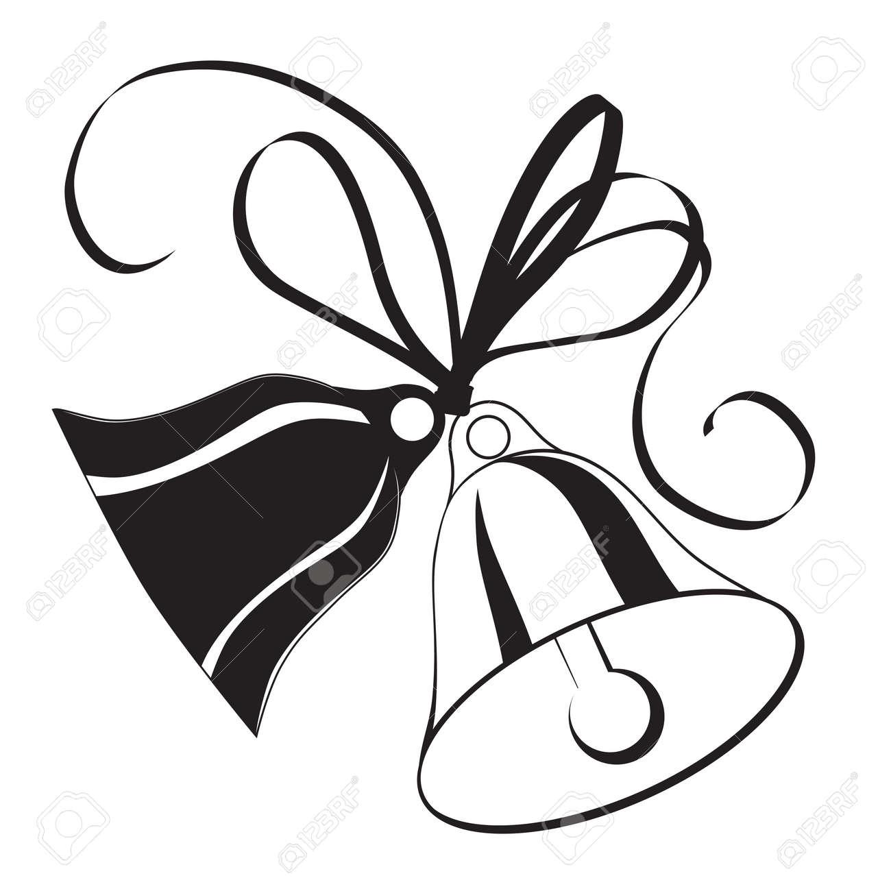 Bell-Skizze Für Weihnachten Oder Hochzeit Mit Symbol, Element Für ...