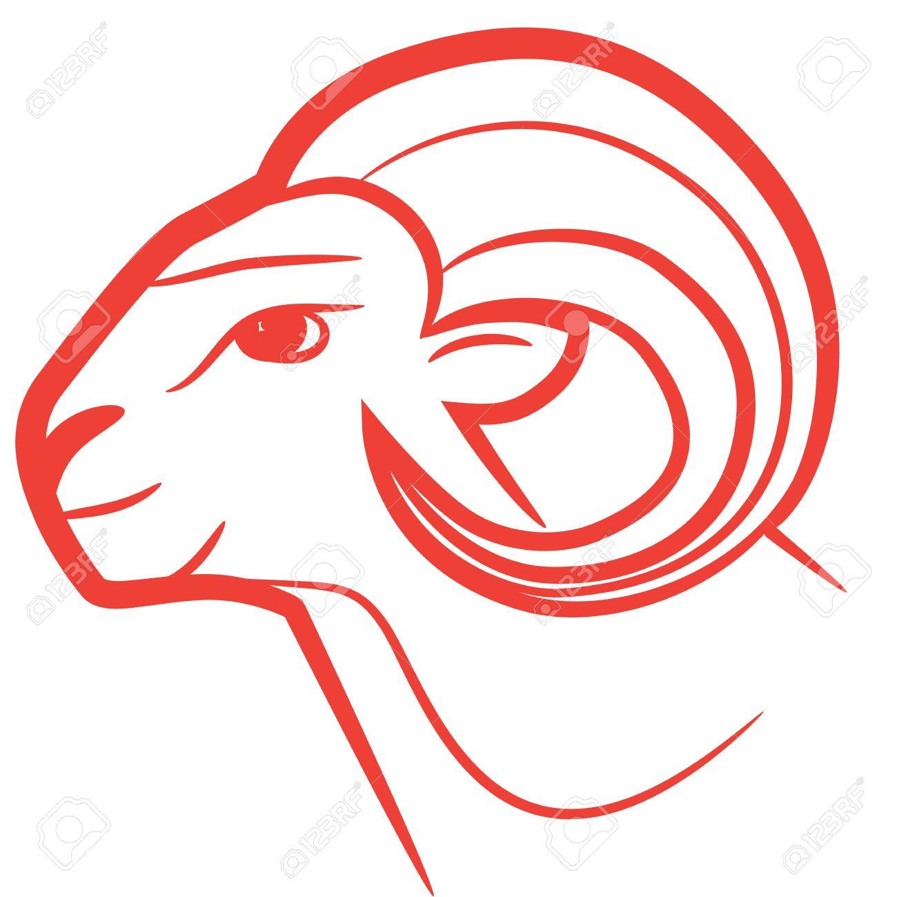 banque dimages signe astrologique blier logo dessin icne de style de tatouage moutons isols sur fond blanc