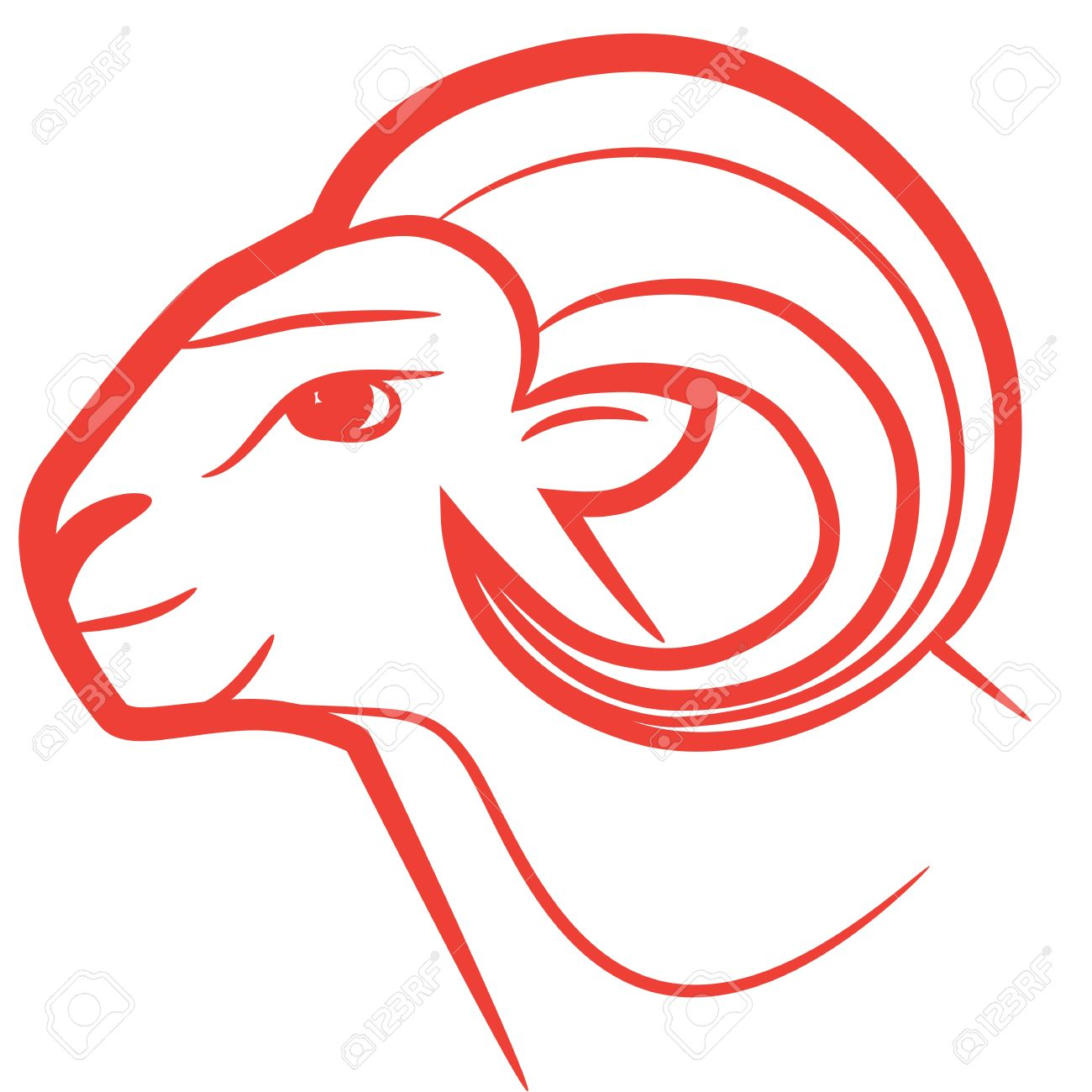 Zodiac Sign Aries Logo Icon Sketch Style Tattoo Sheep Isolated On White Background Stock